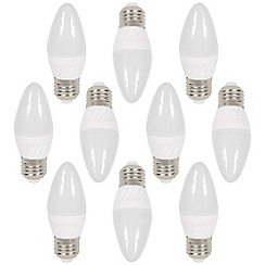 Litecraft - 10 Pack of 3 Watt E27 Edison Screw LED Candle Light Bulb - Cool White