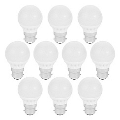 Litecraft - 10 Pack of 3 Watt B22 Bayonet Cap LED Mini Globe Light Bulb - Cool White