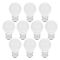 Litecraft - 10 Pack of 3 Watt B22 Bayonet Cap LED Mini Globe Light Bulb - Warm White