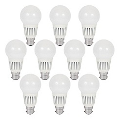 Litecraft - 10 Pack of 7 Watt B22 Bayonet Cap LED GLS Light Bulb - Cool White