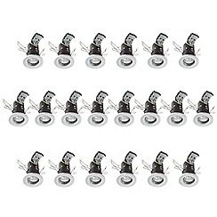 Litecraft - 20 Pack of Fire Rated Die Cast Aluminium Downlighters with Halogen Bulbs - White