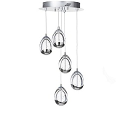 Litecraft - Tegg 5 Light LED Spiral Cluster Ceiling Pendant Light - Chrome