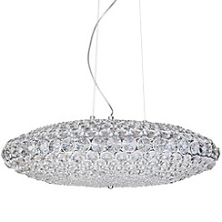 Litecraft - Large Roma Crystal Ceiling Pendant - Chrome