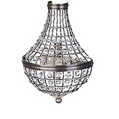 Litecraft - 2 Light Crystal Basket Wall Light - Antique Brass
