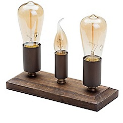 Litecraft - 3 Light Rustic Table Lamp - Wood