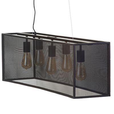 Litecraft 5 Light Industrial Diner Mesh Bar Ceiling Pendant