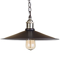 Litecraft - 1 Light Industrial Diner Ceiling Pendant - Bronze