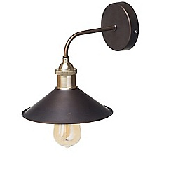 Litecraft - 1 Light Industrial Diner Wall Light - Bronze
