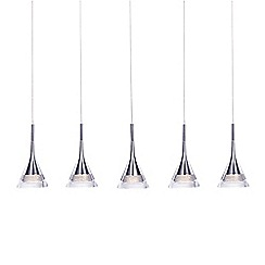 Litecraft - Jewel Conical LED 5 Light Ceiling Pendant Bar - Chrome