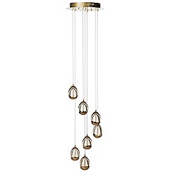 Litecraft - Tegg 7 Light LED Spiral Cluster Ceiling Light - Gold