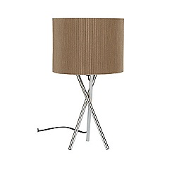 Litecraft - Metal Tripod Table Lamp with Brown Shade - Chrome