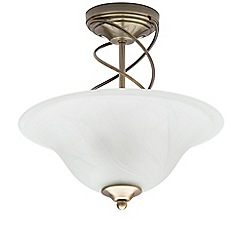 Litecraft - Spiral 2 Light Semi Flush Ceiling Light - Antique Brass