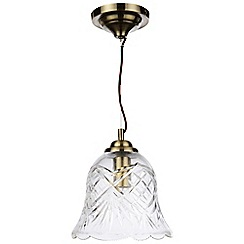 Litecraft - 1 Light Cut Glass Ceiling Pendant - Antique Brass