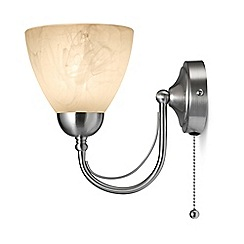 Litecraft - Barcelona Alabaster 1 Light Glass Cup Wall Light - Satin Nickel