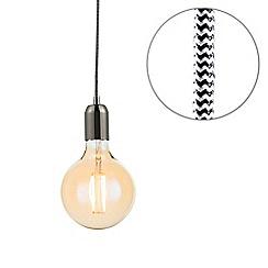 Litecraft - Herringbone Braided Cable & Vintage 4 Watt LED Gold Tint Large Globe Light Bulb