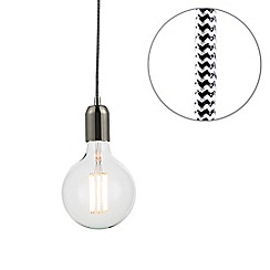 Litecraft - Herringbone Braided Cable & Vintage 8 Watt LED Clear Large Globe Light Bulb