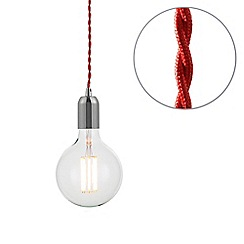 Litecraft - Red Braided Cable & Vintage 8 Watt LED Clear Large Globe Light Bulb