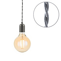 Litecraft - Grey Braided Cable & Vintage 4 Watt LED Gold Tint Large Globe Light Bulb