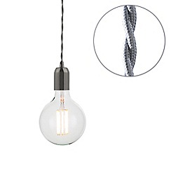 Litecraft - Grey Braided Cable & Vintage 8 Watt LED Clear Large Globe Light Bulb