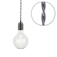 Litecraft - Grey Braided Cable & Vintage 6 Watt LED Clear Large Globe Light Bulb