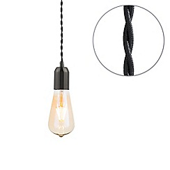 Litecraft - Black Braided Cable & Vintage 4 Watt LED Gold Tinted Tear Drop Light Bulb
