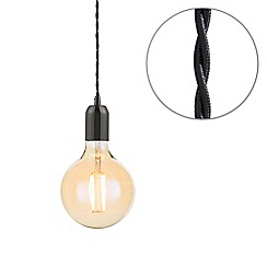 Litecraft - Black Braided Cable & Vintage 4 Watt LED Gold Tint Large Globe Light Bulb
