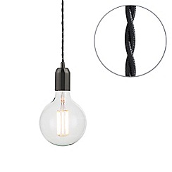 Litecraft - Black Braided Cable & Vintage 8 Watt LED Clear Large Globe Light Bulb