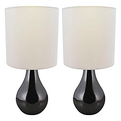 Litecraft - Pack of 2 Manaslu Touch Sensitive Task Lamps - Black Chrome with White Shade