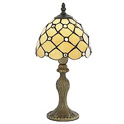 Litecraft - Tiffany Jewel 8 Inch Table Lamp With Honey Shade - Antique Brass