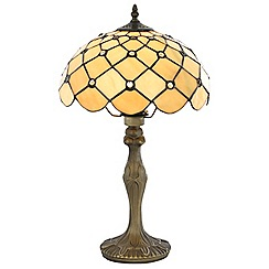 Litecraft - Tiffany Jewel 12 Inch Table Lamp With Honey Shade - Antique Brass