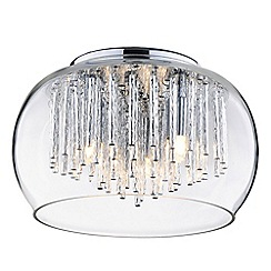 Litecraft - 3 Light Ceiling Pendant Bowl Shade with Aluminium Rods - Chrome & Glass