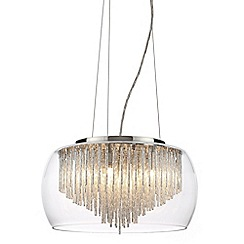 Litecraft - 5 Light Ceiling Pendant Bowl Shade with Aluminium Rods - Chrome & Glass