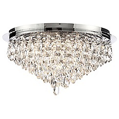 Litecraft - Crystal Flush 5 Light Ceiling Light - Chrome