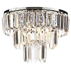 Litecraft - Prism 3 Tier  Crystal Flush Ceiling Light - Chrome & Glass