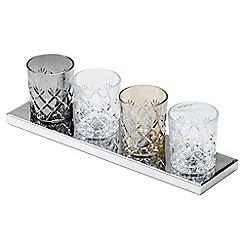 Litecraft - Gatsby Crystal Tumbler 4 Light Table Lamp - Glass and Chrome