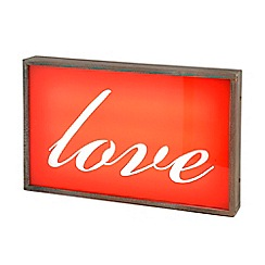 Litecraft - Love Wall Light Box with Rustic Frame - Red