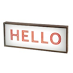 Litecraft - Hello Light Box with Rustic Frame - Red & White