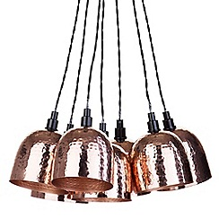 Litecraft - 7 Light Cluster Ceiling Pendant with Hammered Shades - Copper