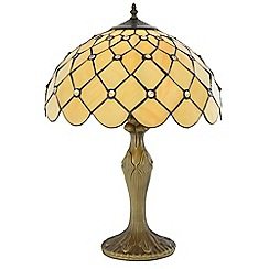 Litecraft - Tiffany Jewel 16 Inch Table Lamp With Honey Shade - Antique Brass