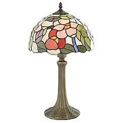 Litecraft - Tiffany Floral 12 Inch Table Lamp With Multi Coloured Shade - Antique Brass