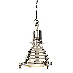 Litecraft - Vintage Nautical Style 1 Light Diner Ceiling Pendant - Chrome