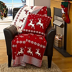Litecraft - Luxury Knitted Reversible Christmas Throw - Red & White