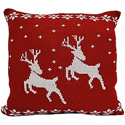 Litecraft - Luxury Knitted Reindeer Christmas Cushion - Red & White