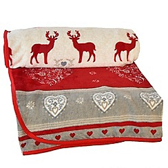 Litecraft - Christmas Reindeer & Snow Pattern Fleece - Red & White