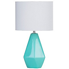 Litecraft - Ceramic Table Lamp with Drum Shade - Aqua