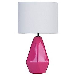 Litecraft - Ceramic Table Lamp with Drum Shade - Pink
