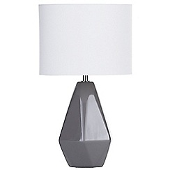 Litecraft - Ceramic Table Lamp with Drum Shade - Grey