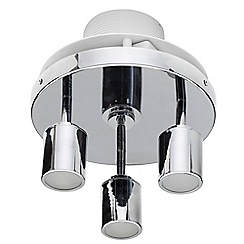 Litecraft - 3 Light Bathroom Ceiling Spotlight Plate with Extractor Fan - Chrome
