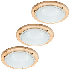Litecraft - 3 Pack of Fergie 1 Light Flush Ceiling Light - Light Wood & Opal Glass