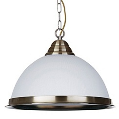 Litecraft - 1 Light Glass Diner Ceiling Pendant - Antique Brass